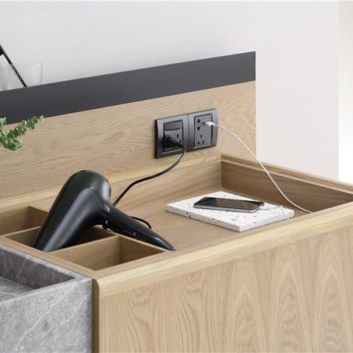 Modern Floating Wood Double Sink Bathroom Vanity